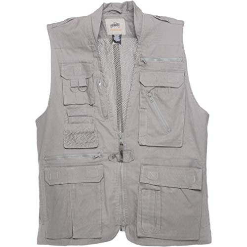 (Humvee HMV-VS-K-M Medium Cotton Safari Vest with Extra Pockets, Khaki)
