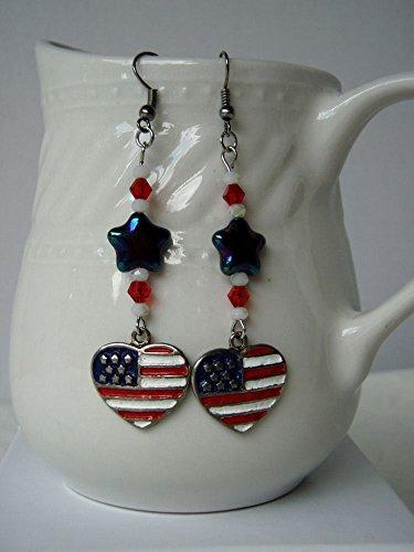 Enameled Pierced Earrings - American Flag Heart Earrings