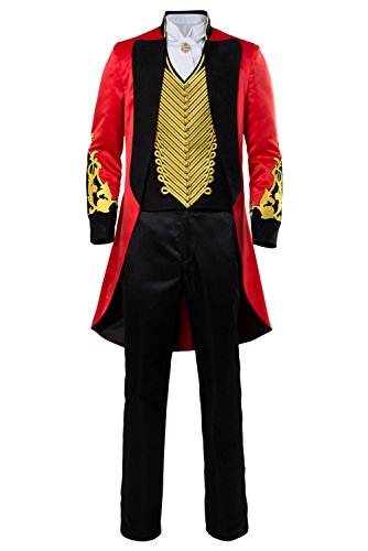 Adult Performance Uniform Showman Party Suit Circus Red Outfit Cosplay Costume (XXL, Red + Gold)