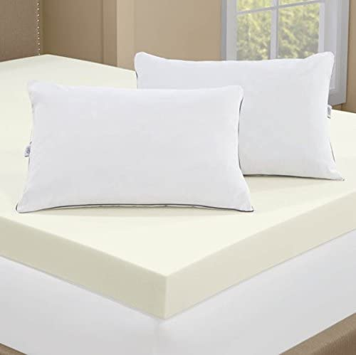 Serta 4-inch Memory Foam Mattress Topper with 2 Memory Foam Pillows — FULL SIZE