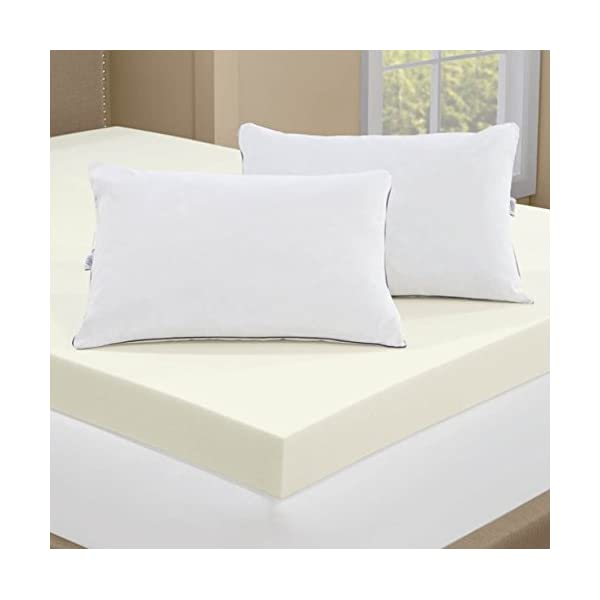 Serta 4 Inch Memory Foam Mattress Topper With 2 Memory Foam Pillows