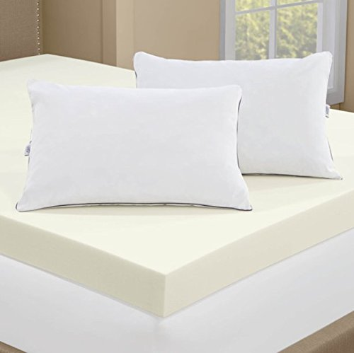 Serta 4 inch memory foam mattress topper with 2 memory foam pillows king size bedroom store 4 memory foam mattress topper