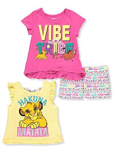 Disney The Lion King Big Girls 3-Piece Shorts Set Outfit - Pink Multi, 6 -
