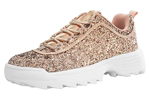 LUCKY STEP Women Glitter Sparkly Bling Chunky Dad Tennis Casual Sneakers (6 B(M) US, Rose Gold) ()