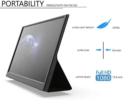 Portable Monitor - GTEK 15.6 Inch IPS Full HD 1920x1080 Screen with Speaker, External Dual Computer Display, USB C & Mini HDMI Travel Monitor for MacBook Laptop PC Phone, Includes Smart Cover