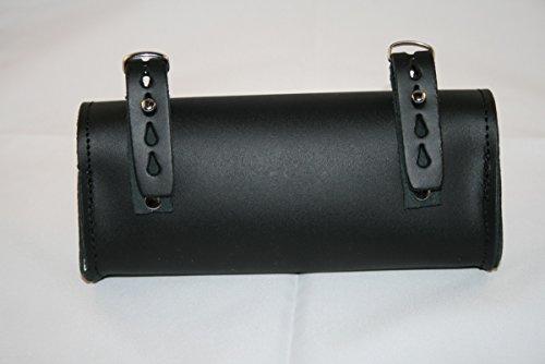Fahrrad-Tasche hinten Sattel für Radfahren OVAL in 100% Genuine Leder. Vero Cuoio. Made in Italy. Farbe: Schwarz.