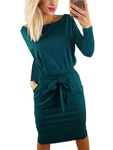 VYNCS Women Casual Round Neck Long Sleeve Wrap Bodycon Midi Dress Wear to Work Belted Pencil Dress with Pockets(Dark Green, Small)