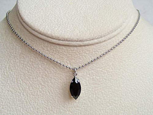 Black Marquise Crystal Drop Pendant 18 Inch Necklace Simulated Onyx December Mystical Birthstone Gift Idea - Faux Onyx Oval