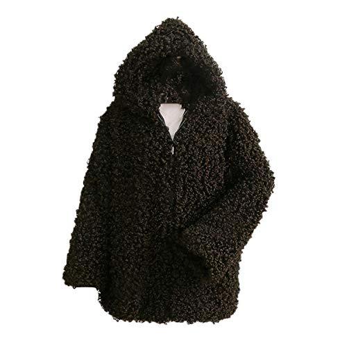 de Desgastar piel larga con de invierno capucha de con piel de sintética Chaqueta felpa de gruesa de Outwear con Rcdxing abrigo Chaqueta Ropa cremallera Green manga mujer xEwtafxq