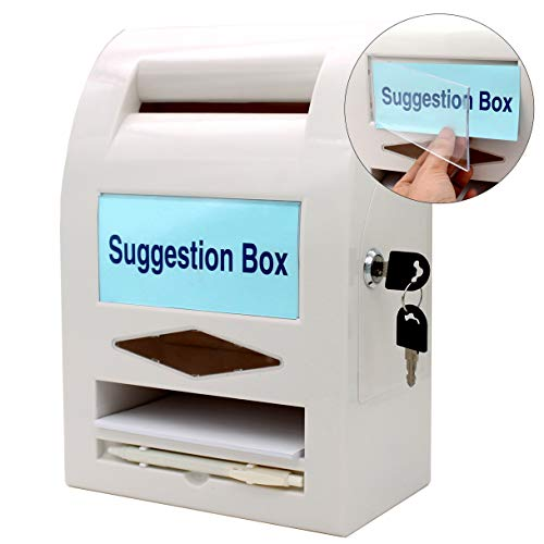 - Suggestion Box,Donation Box,Mail Box,Comment Box, Locking and Pen for Wall or Countertop,6 replaceable tags