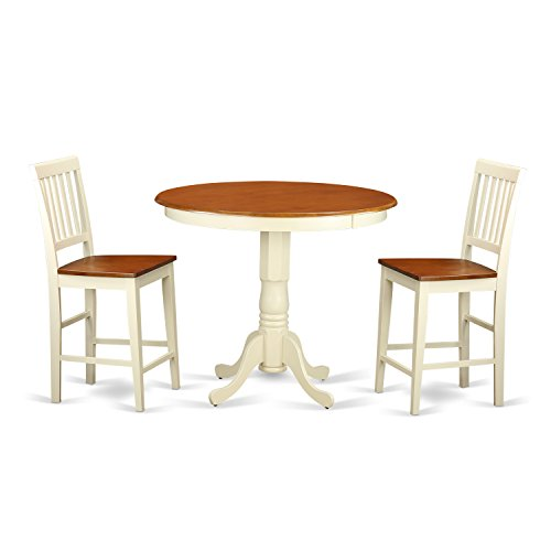 East West Furniture JAVN3-WHI-W 3-Piece Counter Height Dining Table Set