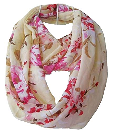- Tapp C. Multicolor Floral Print Infinity Scarf - Cream