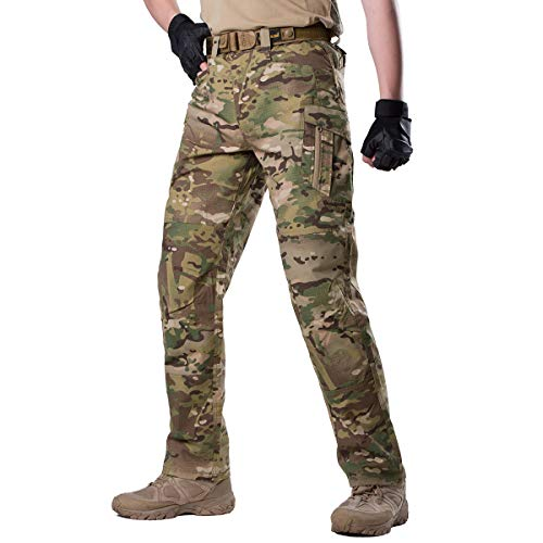FREE SOLDIER Men's Outdoor Urban Tactical Pants Ripstop Water Resistant Assault Combat Cargo Pants(CP Camouflage 34W/30.5L)