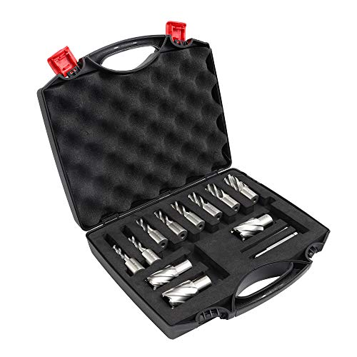 """Muzerdo 13pcs 3/4 Inch Weldon Shank 1"""" Cutting Depth and Cutting Diameter for Magnetic Drill Press HSS Standard Kit Two Flat with 2 Pilot Pins"""