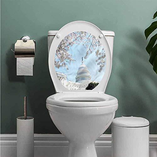 (ThinkingPower Cityscape Toilet Seat Tattoo Cover Capital of United States Vinyl Bathroom Decor W12XL14 INCH)