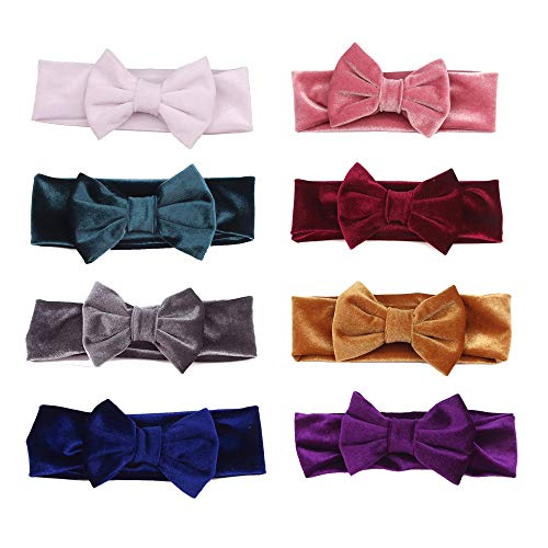 (inSowni Boutique Solid Stretch Velvet Bow Ear Headband Set for Baby Girl Kids Newborn Toddlers Infants)