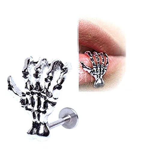 Labret Monroe Anchor 316L Surgical Steel Zombie Skeleton Claw Hand 16g (Claw Labret)