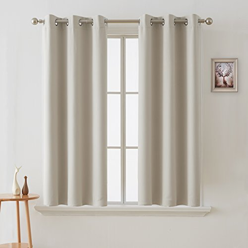 Deconovo Room Darkening Curtains Grommet Thermal Insulated Curtain Width 42 Inch by Length 54 Inch Light Beige One (Beige Window Curtain)