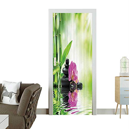 (Modern Art Door Sticker Orchids and Rocks in The Mineral Rich Spring Water Spiritual Deep Treatment Cure Environmentally Friendly decorationW36 x H79 INCH)