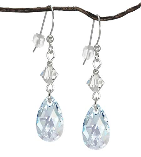 Swarovski Crystal Light Blue Aurora Borealis Teardrop and Bicone Sterling Silver Earrings