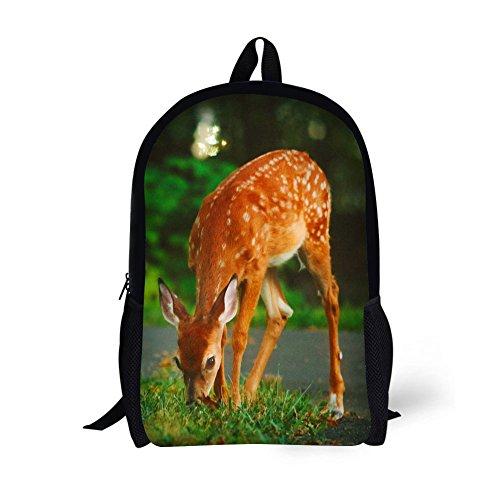 (Book Bags for Kids 17 Inch Animal School Bags (Sika deer))