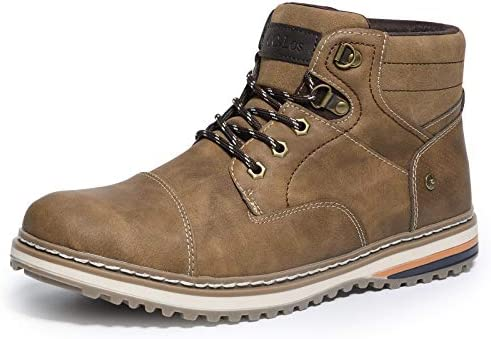 ZASEPY Men's Boots Anti-Slip Water Resistant Leather Outdoor Shoes Casual Boot for Men Brown