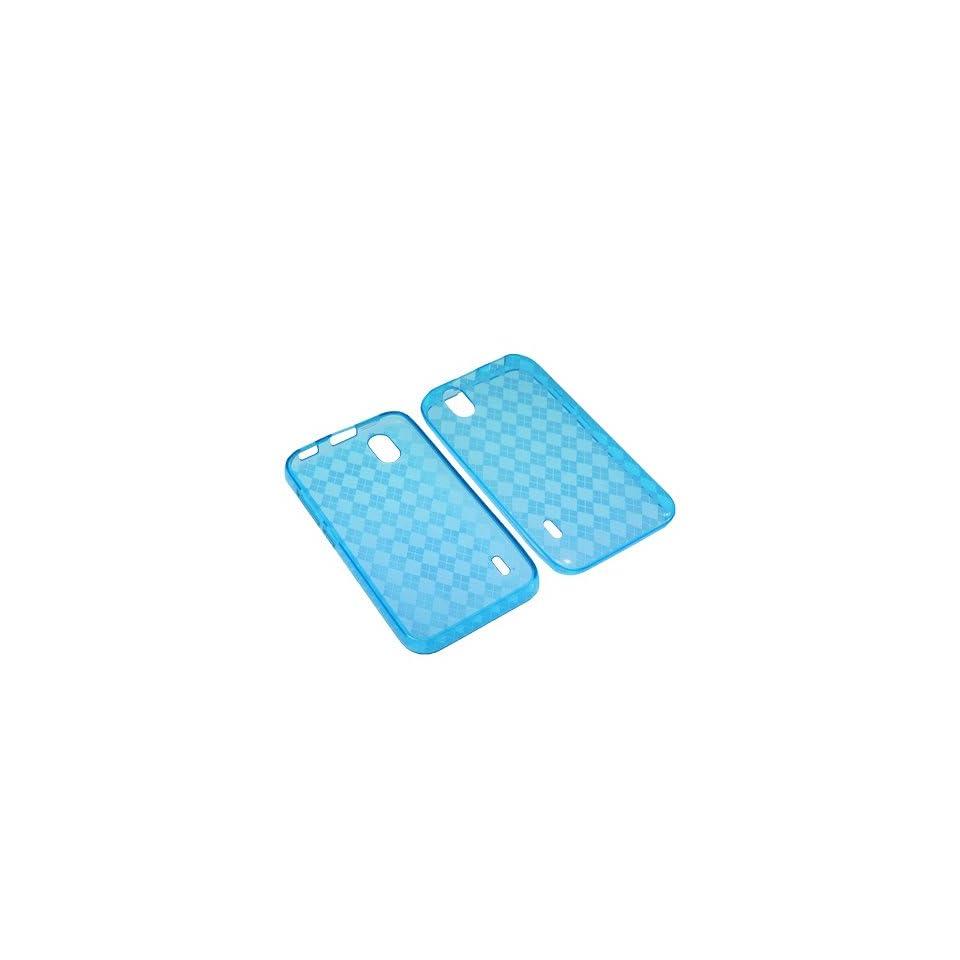 BW TPU Sleeve Gel Cover Skin Case for Sprint LG Marquee LS855  Blue Checker