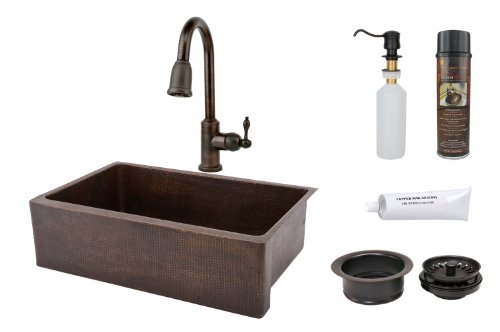 Premier Copper Products KSP2_KASDB33229 33-Inch Hammered Copper Kitchen Apron Single Basin Sink with Pull Down Faucet, Oil Rubbed Bronze by Premier Copper Products