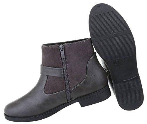 Übergangs Stiefelette | kurze Boots | Kurzschaft Stiefelette | Halbschaft Stiefel | bequeme Übergangsstiefel | Blockabsatz Stiefelette | Schuhcity24 Grau 3