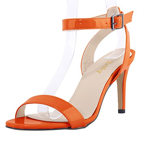 ZriEy Women Ankle Strap Open Toe Stiletto Mid High Heel Sandals for Party Wedding Dancing Patent Leather Orange size (Orange Patent Sandals)