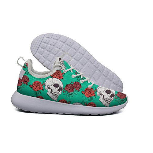 Price comparison product image HASIDHDNAC Green Red Flowers And White Skull Bones Jogging Work Shoes Women's Trail Running Shoes
