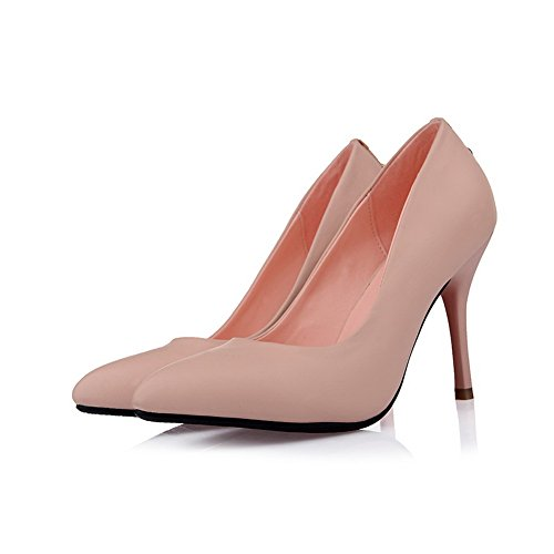 VogueZone009 Womans Closed Pointed Toe High Heel Spikes Stilettos PU Soft Material Solid Pumps Pink r62JjJG