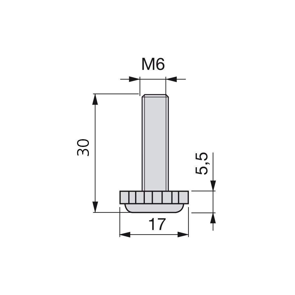 Set aus 20 St/ück Gewinde M6x30mm Emuca 2020305 verstellbarer Fuss f/ür M/öbel