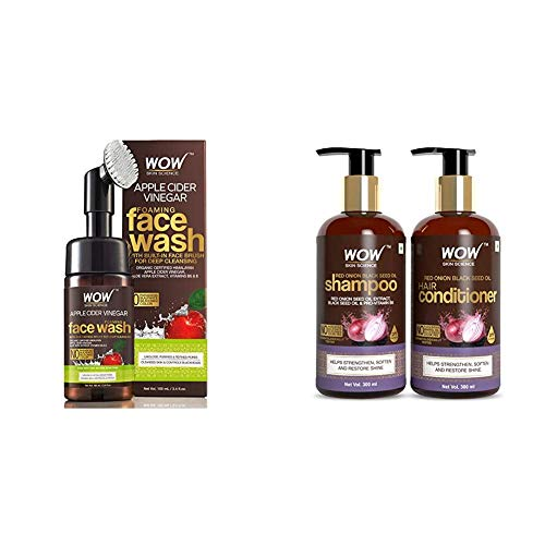 Wow Skin Science Apple Cider Vinegar Foaming Face Wash And Wow Skin Science Red Onion Black Seed Oil Shampoo…