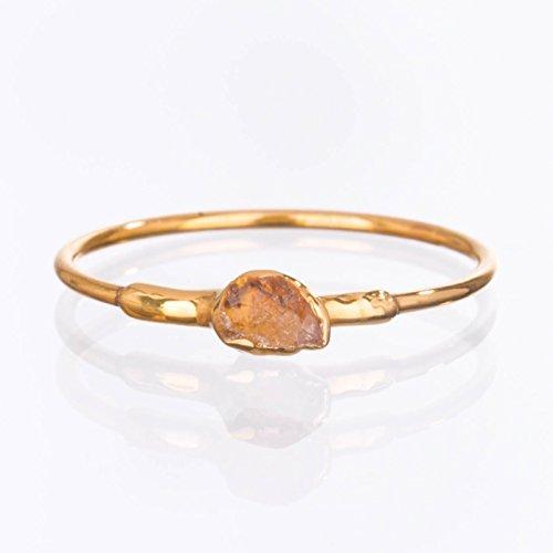 Rough Citrine Ring, Yellow Gold, November Birthstone, Size 6