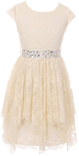 Big Girl Short Sleeve Floral Lace Ruffles Holiday Party Flower Girl Dress Ivory 8 JKS 2095