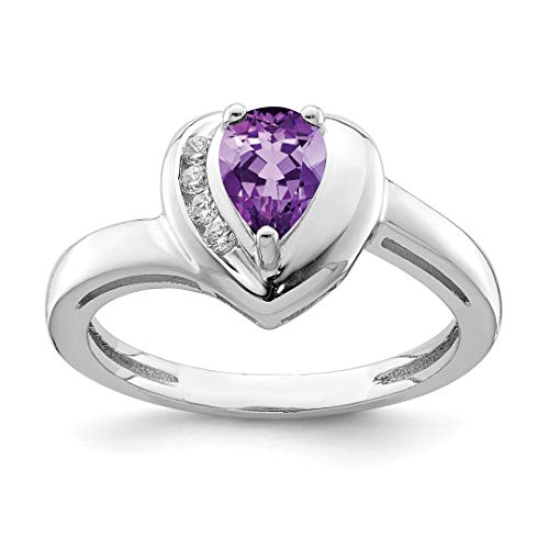 925 Sterling Silver Purple Amethyst White Topaz Heart Band Ring Size 7.00 S/love Fine Jewelry For Women Gift Set -