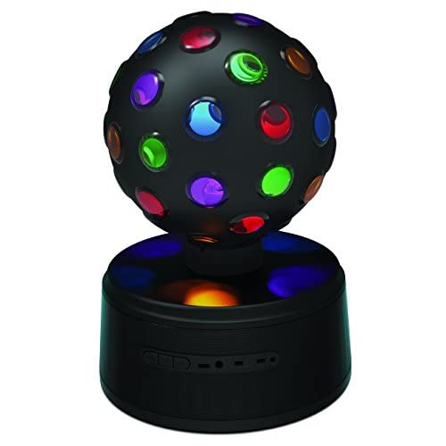 Sharper Image SBT651BK Universal Rechargeable Bluetooth Disco Ball Speaker with LED Color Changing Lights - Black