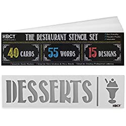 Restaurant Stencil Set - Create Stunning Menu Boards and Make Your Restaurant Menus Pop - Great For All Chalkboards, Whiteboards, Glass Windows and Displays! Mega Pack - 40 Cards, 55 Words, 15 Designs