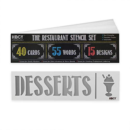 Restaurant Stencil Set - Create Stunning Menu Boards and Make Your Restaurant Menus Pop - Great For All Chalkboards, Whiteboards, Glass Windows and Displays! Mega Pack - 40 Cards, 55 Words, 15 Designs ()