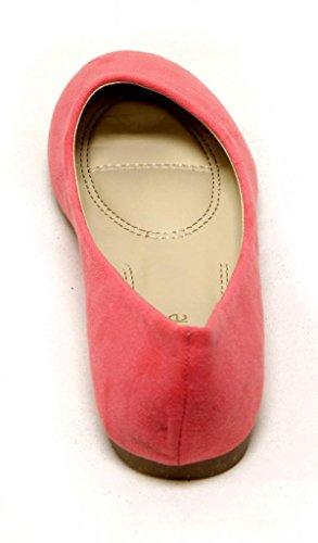 Anna Dana-12 Womens Klassieke Comfortabele Ballerinas Afgeronde Teen Suede Slip Op Flats Blush