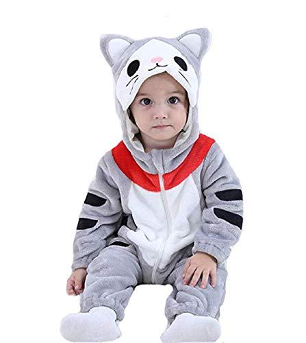 Unisex Baby Flannel Romper Cartoon Animal Onesies Costume Outfit Suit (Doraemon, 100(18-24M)) -