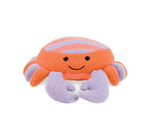Rich Frog K'NIT Sea Creatures Crab Stuffed Animal, Hand Knit Baby Cotton Yarn Toy - 6