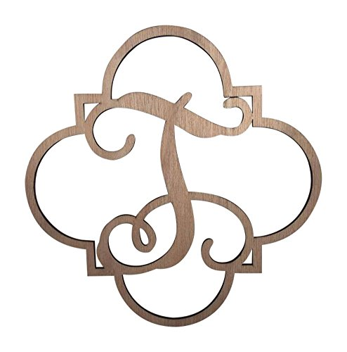 """Price comparison product image Fancy Vine Monogram Letter 'T"""" Laser Cut,  3 / 16 Inch,  Unfinished Wood,  Sturdy,  12 x 12 Inches"""