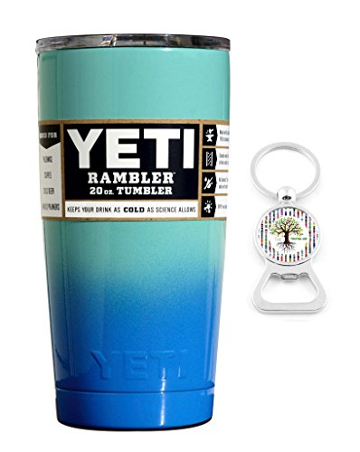 YETI Coolers Custom Powder Coated Insulated Stainless Steel 20 Ounce (20 oz) (20oz) Rambler Tumbler with Lid (Seafoam Blue Ombre)