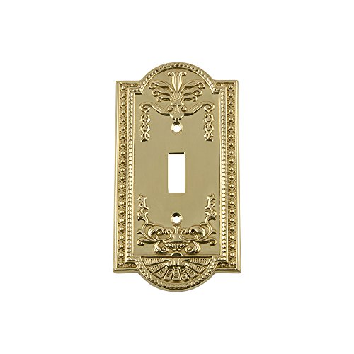 - Nostalgic Warehouse 719926 Meadows Switch Plate with Single Toggle, Polished Brass