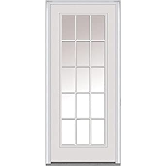 National Door Company Z000372R Fiberglass Smooth Primed, Right Hand  In Swing, Prehung Front