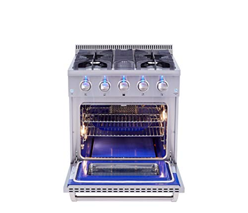 Thor Kitchen Free Standing 30″ Freestanding Professional Style Gas Range with 4.2 cu. ft, 4 Burners, Convection Fan, Cast Iron Grates, Blue Porcelain Oven Interior, in Stainless Steel HRG3080U
