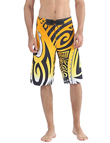 NONWE Men's Quick Dry Wave Pattern with Mesh Lining Swim Trunks 1610850-34