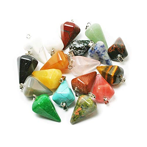 Mixed Natural Stone Charms Pendants | Choker/Necklace | Faceted Pendulum/Charms for DIY Fashion Jewelry | 1422mm 12pcs